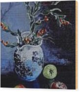 Blue Jug And Apples Wood Print