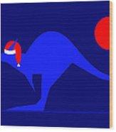 Blue Kangaroo Wishes You A Merry Christmas On Dark Blue Wood Print