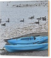 Blue Kayaks On The Shore  Wood Print