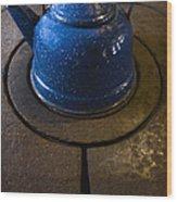 Blue Kettle Wood Print