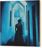 Blue Lady In The Hall Wood Print