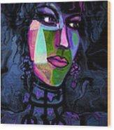 Blue Lady Wood Print