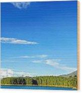 Blue Lake And Green Hills Wood Print