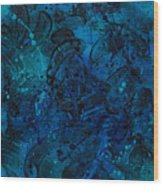 Blue Lava Flow Wood Print