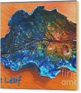 Blue Leaf Ceramic Design 3 Wood Print