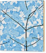 Blue Leaves Melody Wood Print by Jennie Marie Schell