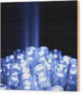 Blue Led Lights With Light Beam Wood Print