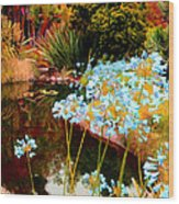 Blue Lily Water Garden Wood Print