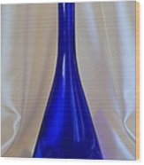 Blue Long-necked Bottle Wood Print