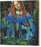 Blue Madonna In Tree Wood Print