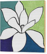 Blue Magnolia 1- Floral Art Wood Print
