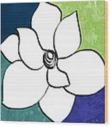 Blue Magnolia 2- Floral Art Wood Print