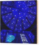Blue Man Group Chandelier Wood Print