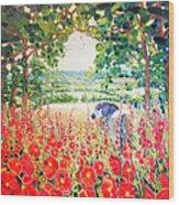 Blue Mare's English Summer Garden Wood Print