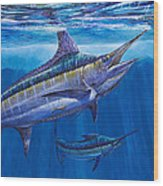 Blue Marlin Bite Off001 Wood Print