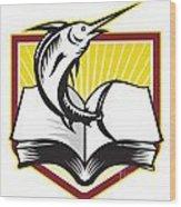 Blue Marlin Fish Jumping Book Retro Wood Print