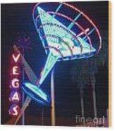 Blue Martini Glass Las Vegas Wood Print