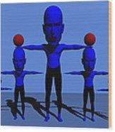 Blue Men Wood Print