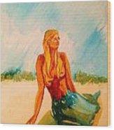 Blue Mermaid Wood Print