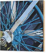 Blue Mg Wire Spoke Rim Wood Print