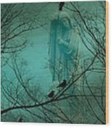 Angel And Crows In A Blue Mist Wood Print