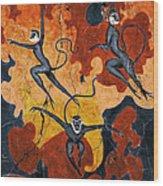 Blue Monkeys No. 8 - Study No. 1 Wood Print