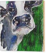 Blue Moo Wood Print