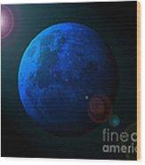 Blue Moon Digital Art Wood Print