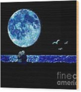 Blue Moon Wood Print by LCS Art