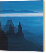 Blue Moon Mesa Wood Print