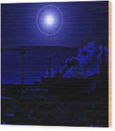 Blue Moon Over Baltimore Wood Print
