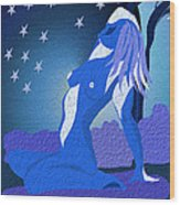 Blue Moon Rising Wood Print