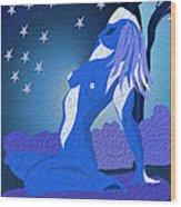 Blue Moon Rising Wood Print by Sydne Archambault