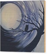 Blue Moon Vortex With Owl Wood Print
