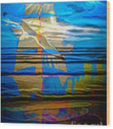 Blue Moonlight With Seagull And Sails Wood Print