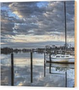 Blue Morning Reflections Wood Print by Vicki Jauron