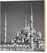Blue Mosque Black And White Wood Print