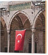 Blue Mosque Courtyard Portico Wood Print
