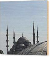 Blue Mosque Dome Behind Hagia Sophia Dome Wood Print