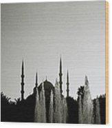 Blue Mosque Dusk Wood Print