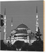 Blue Mosque In Black And White Wood Print