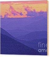 Blue Mountain Afterglow Wood Print