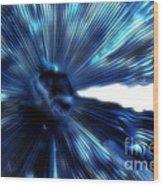 Blue Mushroom Wood Print