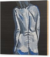 Blue Nude Self Portrait Wood Print