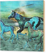 Blue Ocean Horses Wood Print by Betsy Knapp