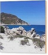 Blue Ocean Rocky Beach Wood Print