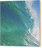 Blue Ocean Wave, View From In The Water Wood Print