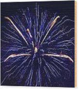 Blue Orange Fireworks Galveston Wood Print