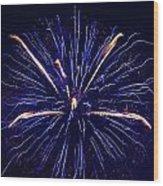 Blue Orange Fireworks Galveston Wood Print by Jason Brow