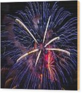 Blue Orange Red Fireworks Galveston Wood Print